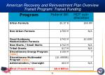american recovery and reinvestment plan overview transit program transit funding
