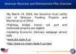 american recovery and reinvestment plan overview11