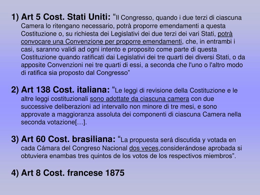 Art 5 Cost. Stati Uniti: