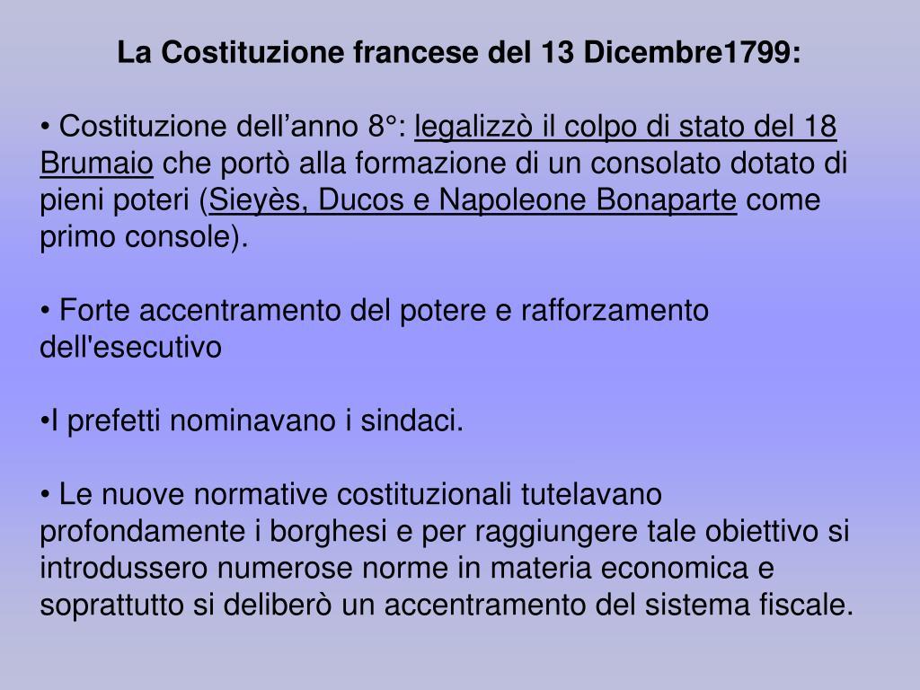 La Costituzione francese del 13 Dicembre1799:
