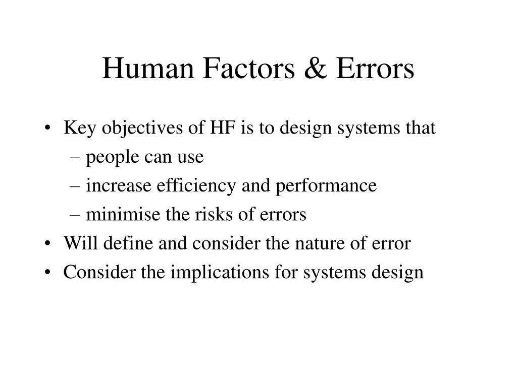 human factors errors l.
