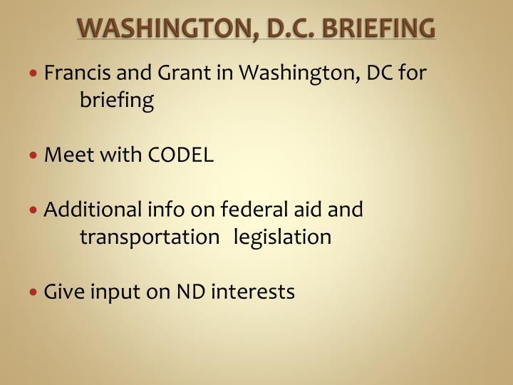 Washington d c briefing