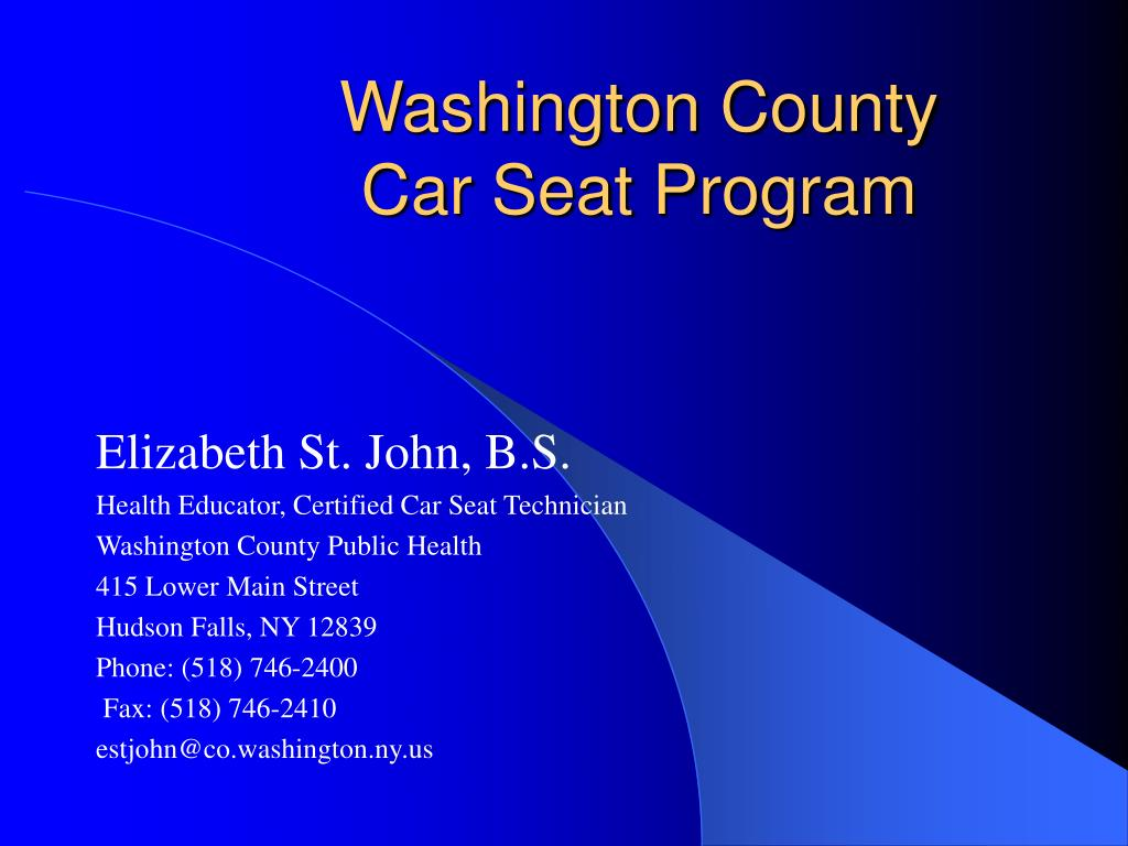 washington county car seat program l.
