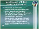 maintenance of effort sections 1201 a and b