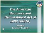 the american recovery and reinvestment act of 2009 arra