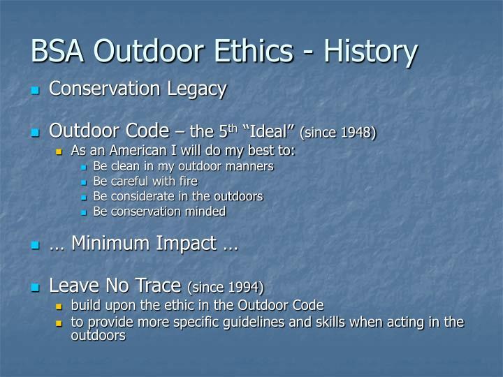Bsa outdoor ethics history