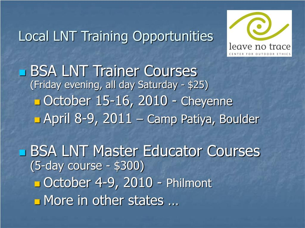 Local LNT Training Opportunities