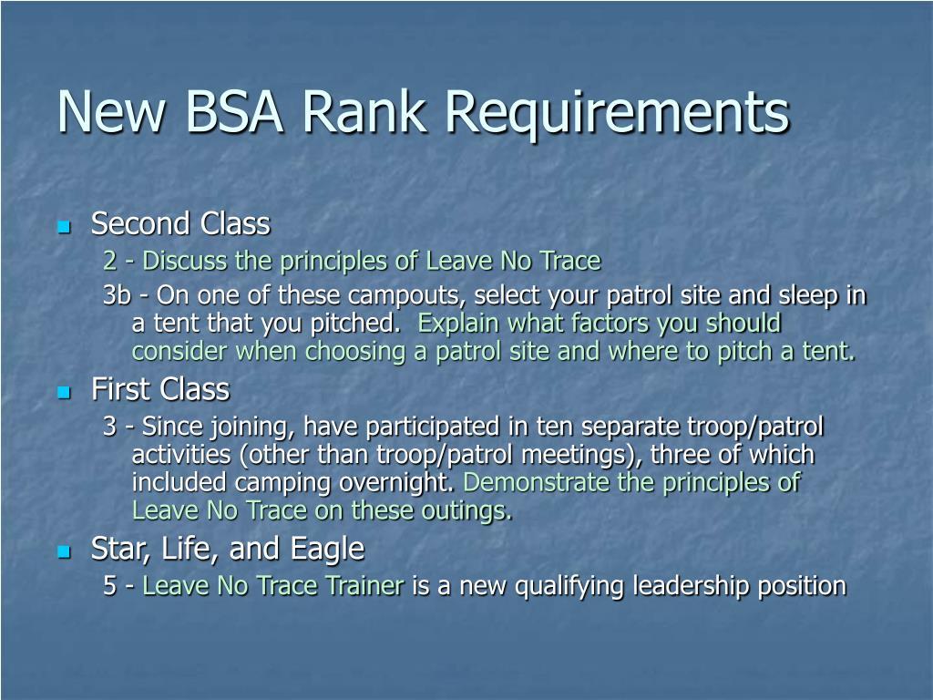 New BSA Rank Requirements