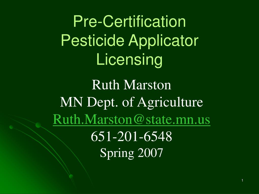 pre certification pesticide applicator licensing l.