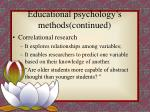 educational psychology s methods continued