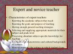 expert and novice teacher
