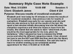 summary style case note example