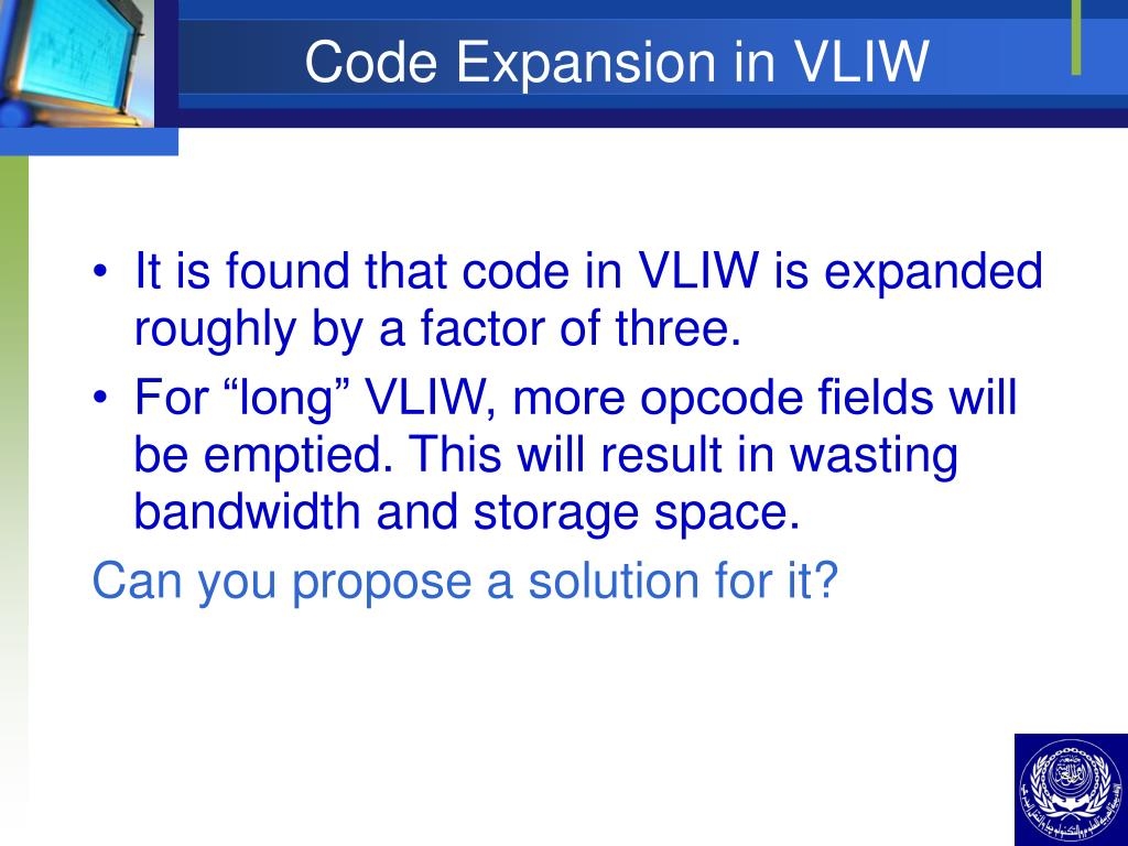 Code Expansion in VLIW