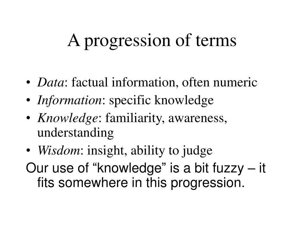 A progression of terms