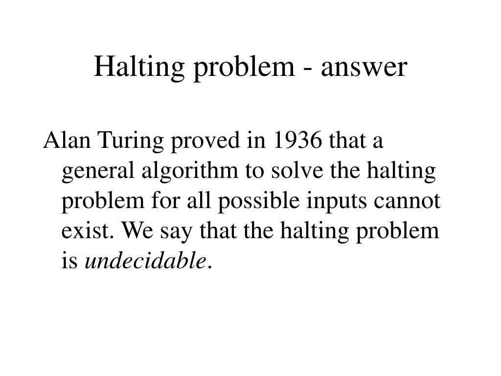 Halting problem - answer