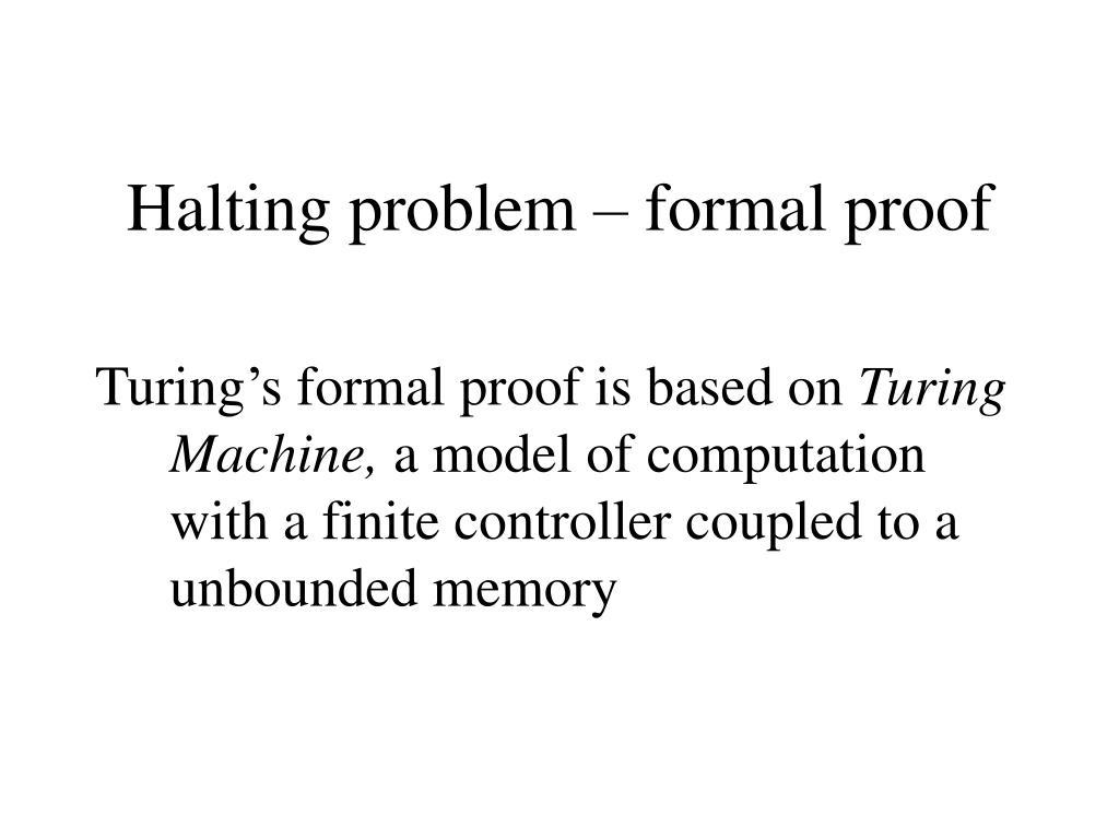 Halting problem – formal proof