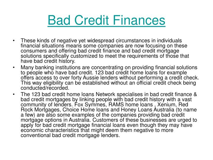 Bad credit finances