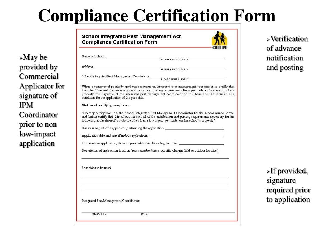 Compliance Certification Form
