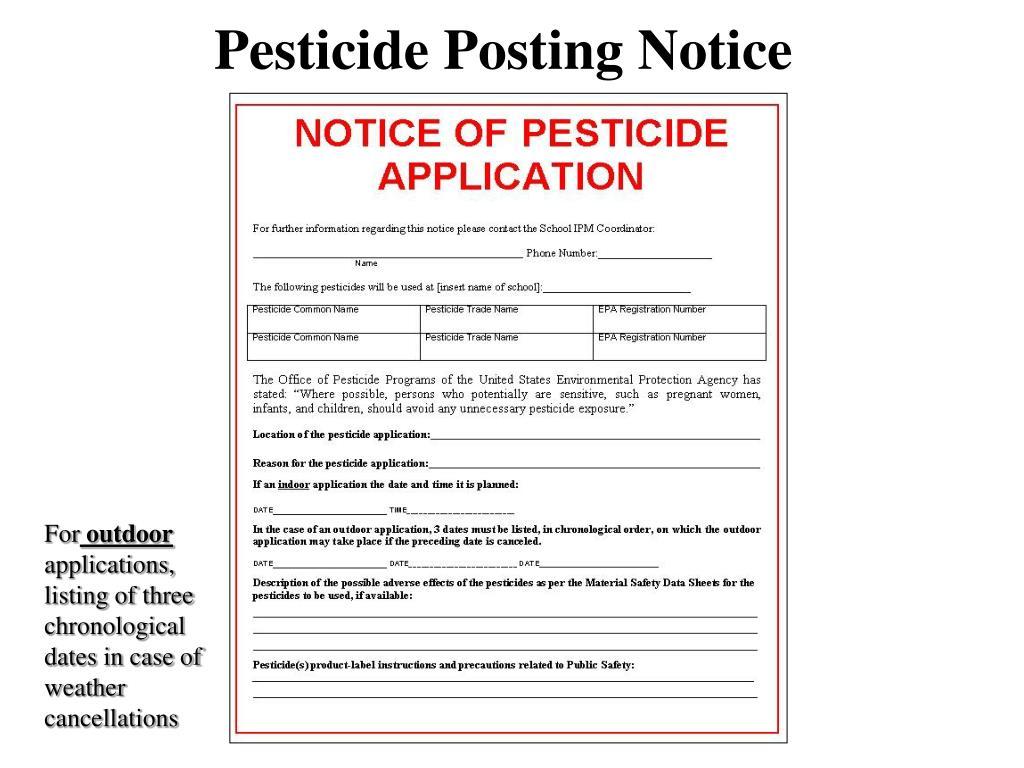 Pesticide Posting Notice