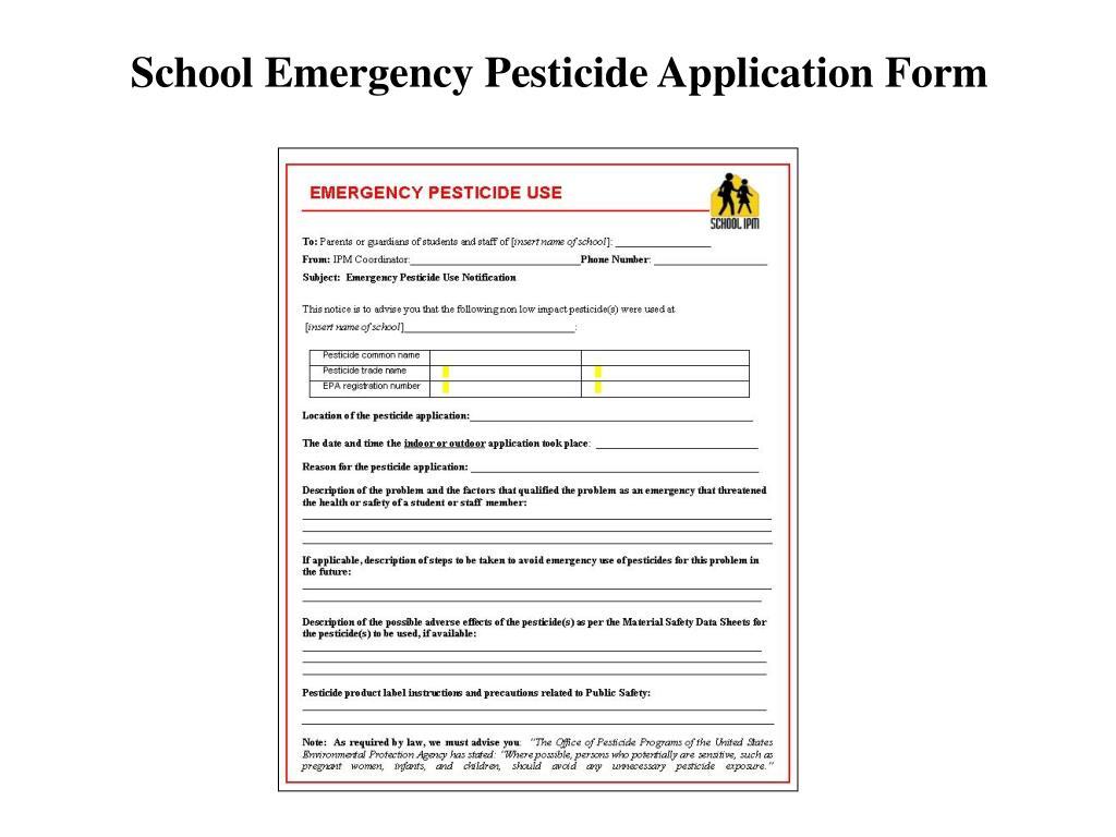 School Emergency Pesticide Application Form