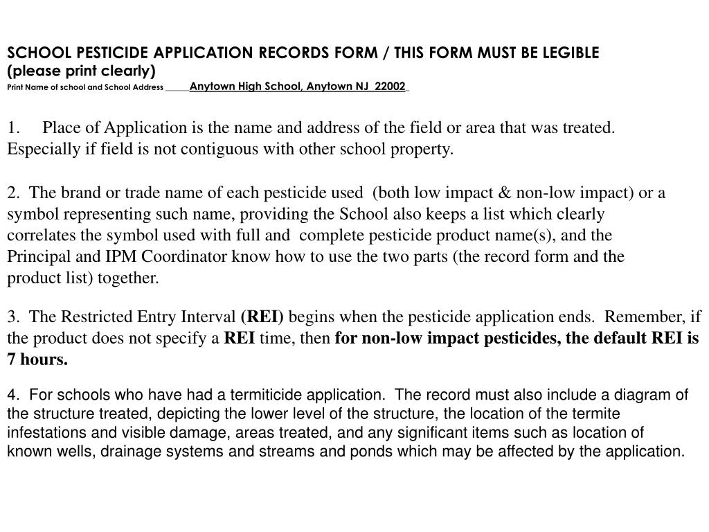 SCHOOL PESTICIDE APPLICATION RECORDS FORM / THIS FORM MUST BE LEGIBLE