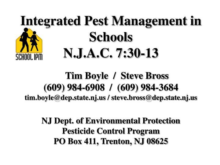 Integrated Pest Management in Schools