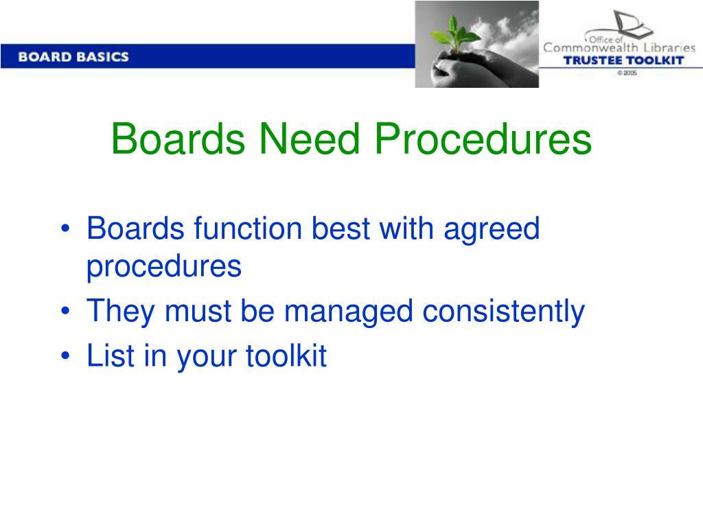 Boards Need Procedures