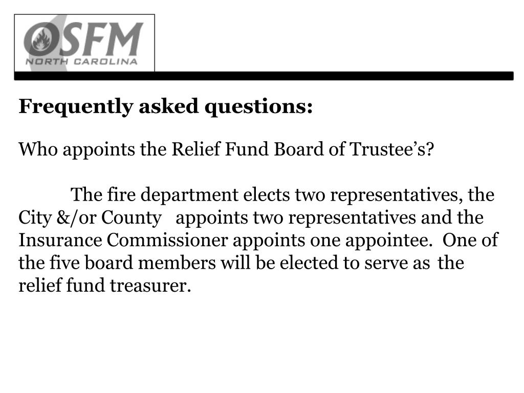 Who appoints the Relief Fund Board of Trustee's?