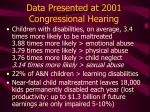 data presented at 2001 congressional hearing