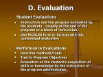 d evaluation