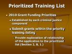 prioritized training list