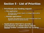 section 5 list of priorities