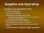 supplies and operating