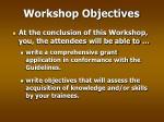 workshop objectives