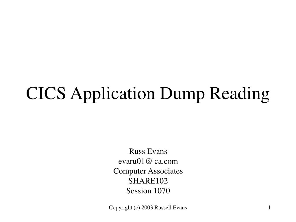cics application dump reading l.