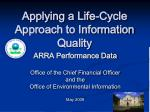 applying a life cycle approach to information quality