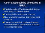 other accountability objectives in arra