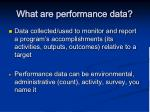 what are performance data