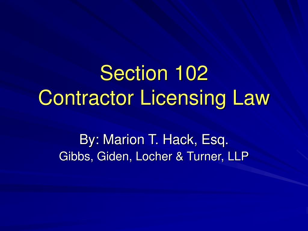 section 102 contractor licensing law l.