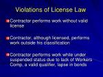 violations of license law