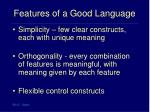 features of a good language
