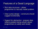features of a good language16