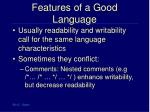 features of a good language20