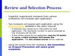 review and selection process