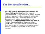 the law specifies that14