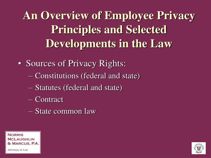 An overview of employee privacy principles and selected developments in the law