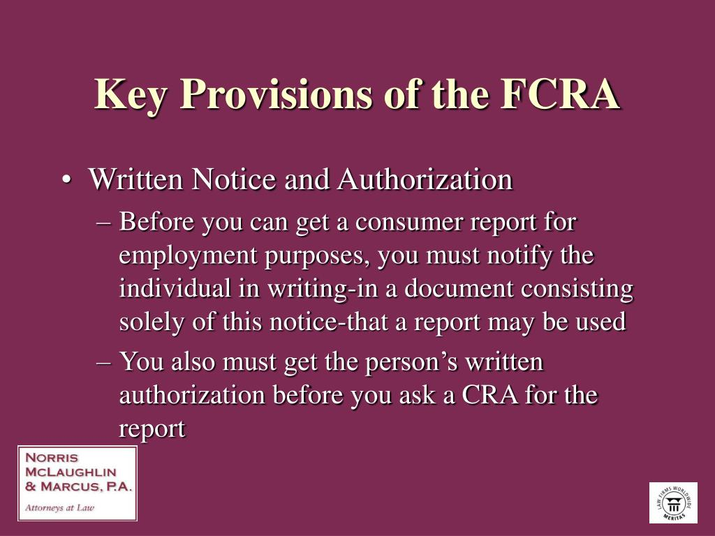 Key Provisions of the FCRA