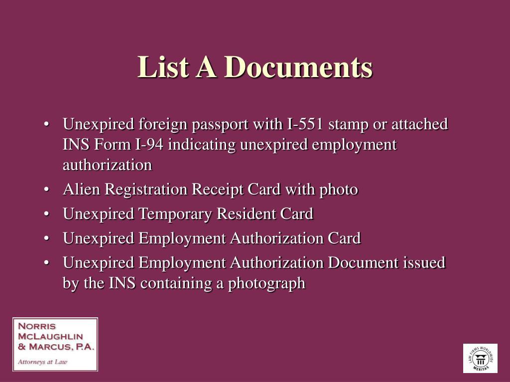 List A Documents