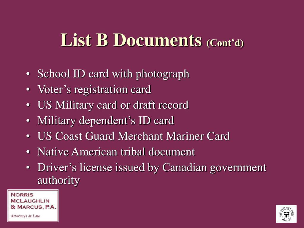 List B Documents