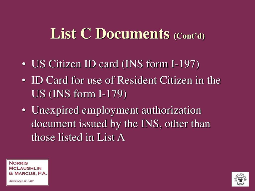 List C Documents
